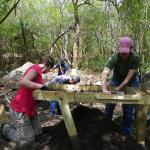 Lead Graduate Student, Louisa Pittman and UoB students sifting for finds.