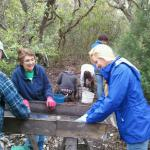 Board Member, Janet Bigney, CAS members, and UoB students digging and sifting.