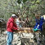 Board Members, Ollie Jarvis and Janet Bigney, sifting for finds.