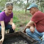 Board Member, Maggie Dawson sifting for smaller finds with CAS Member, Bruce Clark.