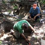 CAS Summer Dig 2015:  Professor Horton instructing CAS Board Member Warren McMaster in the art of troweling the trench.