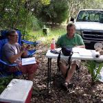 Professor Mark Horton in his outdoor office with special guest visitor Andrew Lawler, freelance writer, who was visiting to write a story for National Geographic.